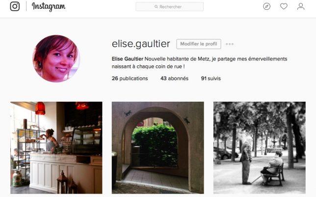 Compte Instagram d'@elise.gaultier, dédié à Metz