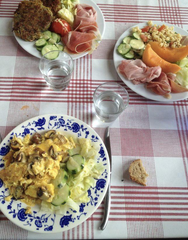Omelette aux champignons servie chez Soupes à Soup's, Marché Couvert de Metz