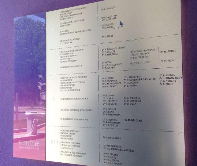 Tableau du personnel médical exerçant dans le bâtiment Feminae de l'hôpital-clinique Claude Bernard à Metz