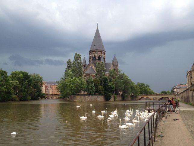 Vue sur le Temple Neuf, Metz